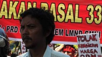 Ketua Komite Pimpinan Wilayah Partai Rakyat Demokratik (KPW-PRD) Sulawesi Utara Frans E. Kurniawan