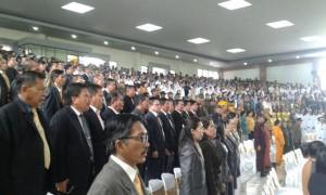Anggota DPRD dan Pimpinan SKPD Minsel mengikuti Rapat Paripurna Istimewa HUT Minsel ke 14.