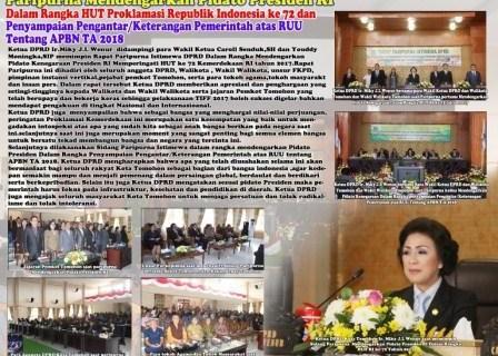 Paripurna Istimewa DPRD Kota Tomohon Sambut HUT Proklamasi RI Tahun 2017