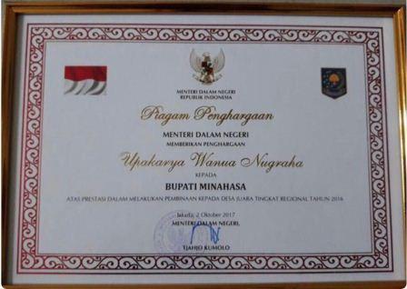 Bupati JWS Raih Penghargaan Upakarya Wanua Nugraha