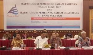 Rapat Umum Pemegang Saham (RUPS) Tahunan Tahun Buku 2017 dan RUPS Luar Biasa PT Bank SulutGo, Jumat (09/02/2018)lalu