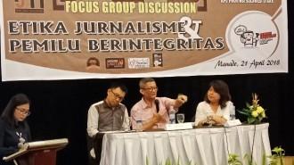 Focus Group Discussion (FGD), bertajuk Etika Jurnalisme Pemilu Berintegritas di Hotel Aryaduta Manado Sabtu (21/04/2018) yang diselenggarakan oleh IJTI Sulut.