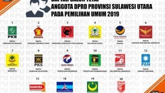 KPU Umumkan DCT DPRD Provinsi Sulawesi Utara pada Pemilu Tahun 2019