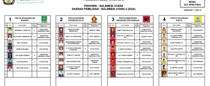 DCT DPRD Provinsi Sulawesi Utara Dapil II Bitung-Minut