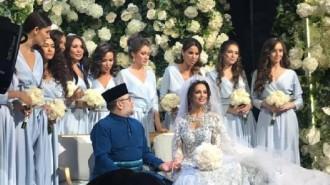 Viral foto pernikahan Sultan Muhammad V dari Malaysia dengan Miss Moscow 2015 Oksana Voevodina. (Facebook Ezzat Tahir)
