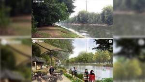 Foto Kalimalang (atas) dan hasil desain Kalimalang Ridwan Kamil (bawah) yang diunggah di akun Instagram-nya, @ridwankamil. Revitalisasi Kalimalang ini ditargetkan akan menelan anggaran Rp 50 miliar. Foto/instagram/ridwankamil