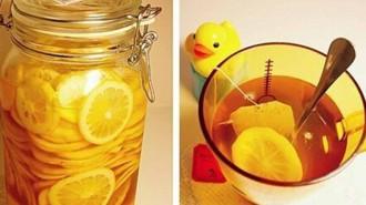Lemon dan madu obat batuk alami.