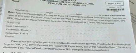 Form Model C-1 Berita Acara Pemungutan dan Perhitungan Suara Pemilu Tahun 2019 KPUD Bolmut Tertulis DPR Papua dan DPR Papua Barat. Benarkah Sudah Sesuai Dengan PKPU No.3 Tahun 2019???