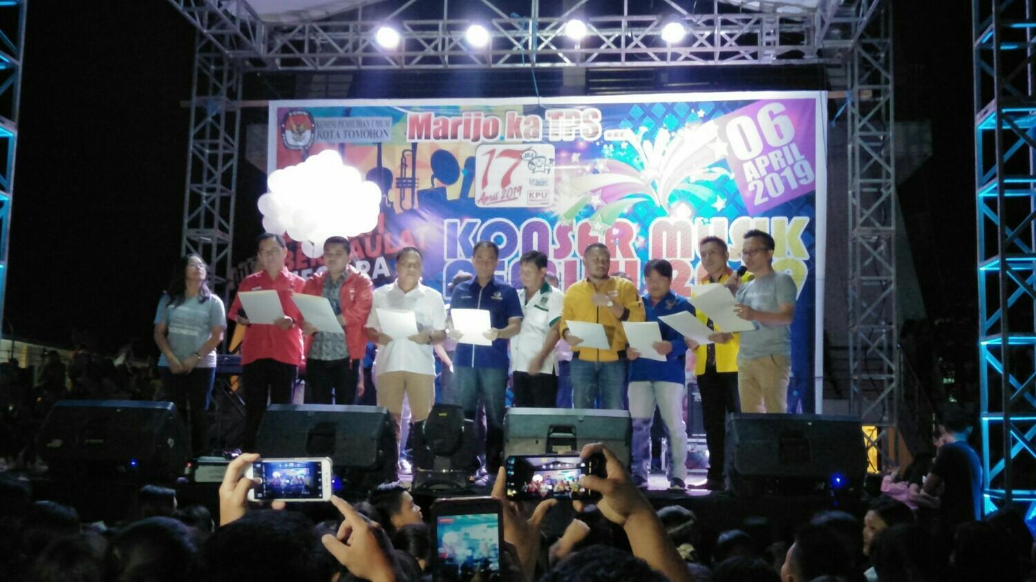 Deklarasi Pemilu Damai KPU Tomohon, Tanpa Partai Golkar