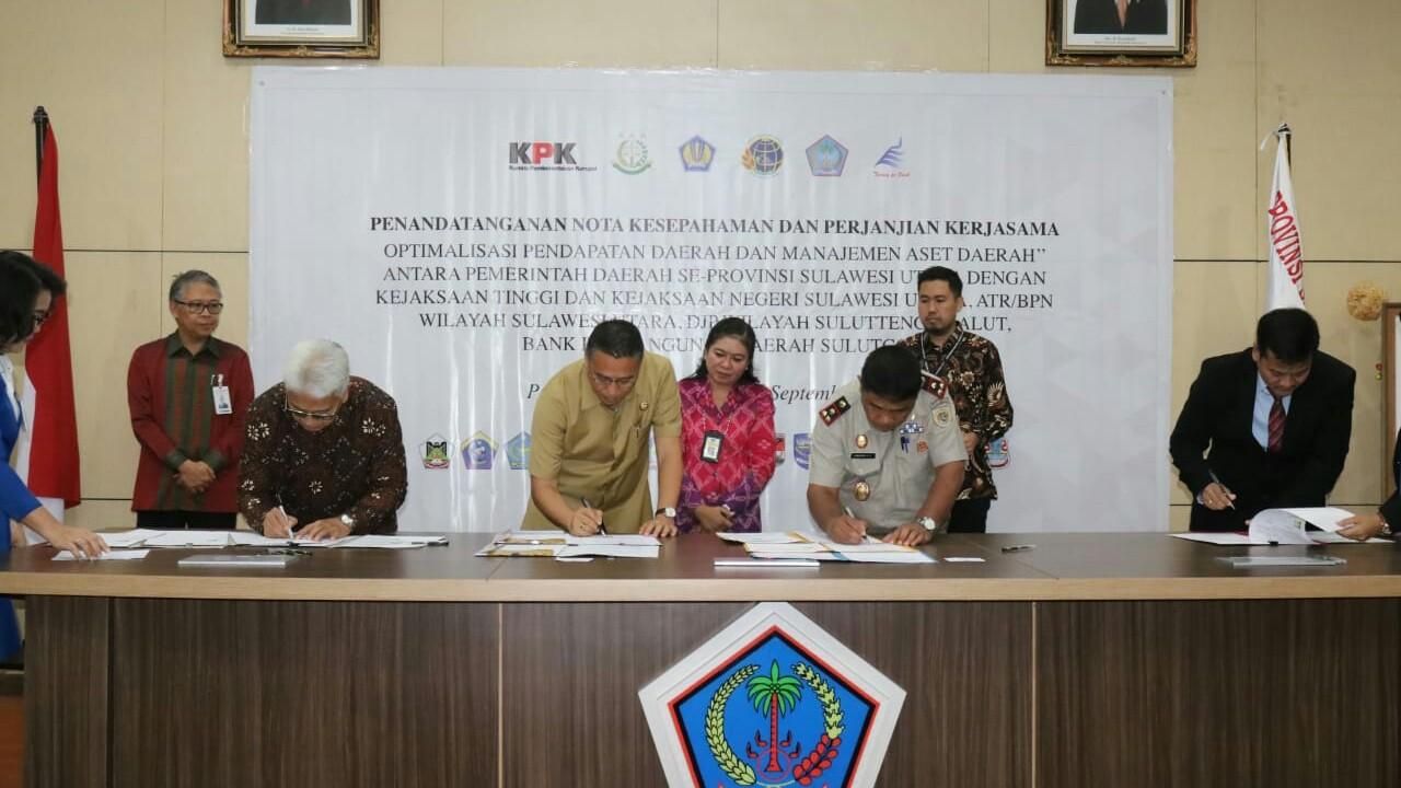 Disaksikan KPK RI dan Gubernur Sulut, Walikota Eman Tandatangan MoU Tata Kelola Aset Daerah