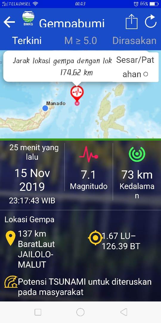 Manado Berdampak Gempa M=7,1 di Maluku Utara, 72 Kali Gempa Susulan