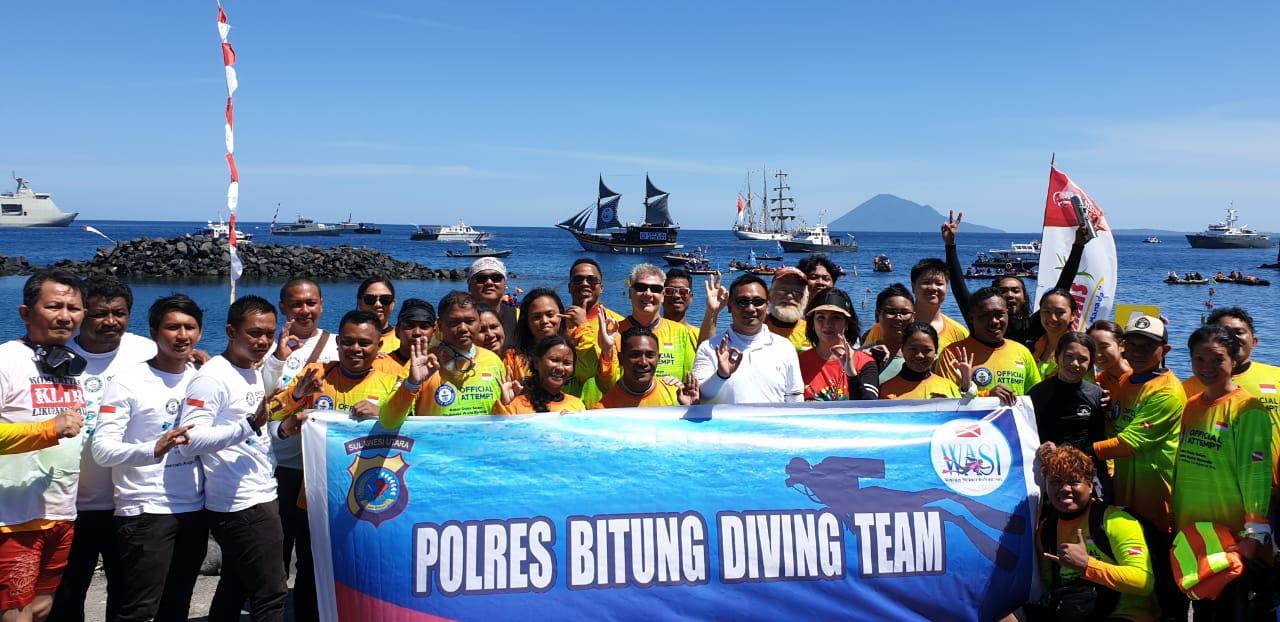 Kapolres Bitung dan Kasat Intelkam Pimpin Tim Selam Dukung Realisasi Rekor Dunia di Pantai Manado