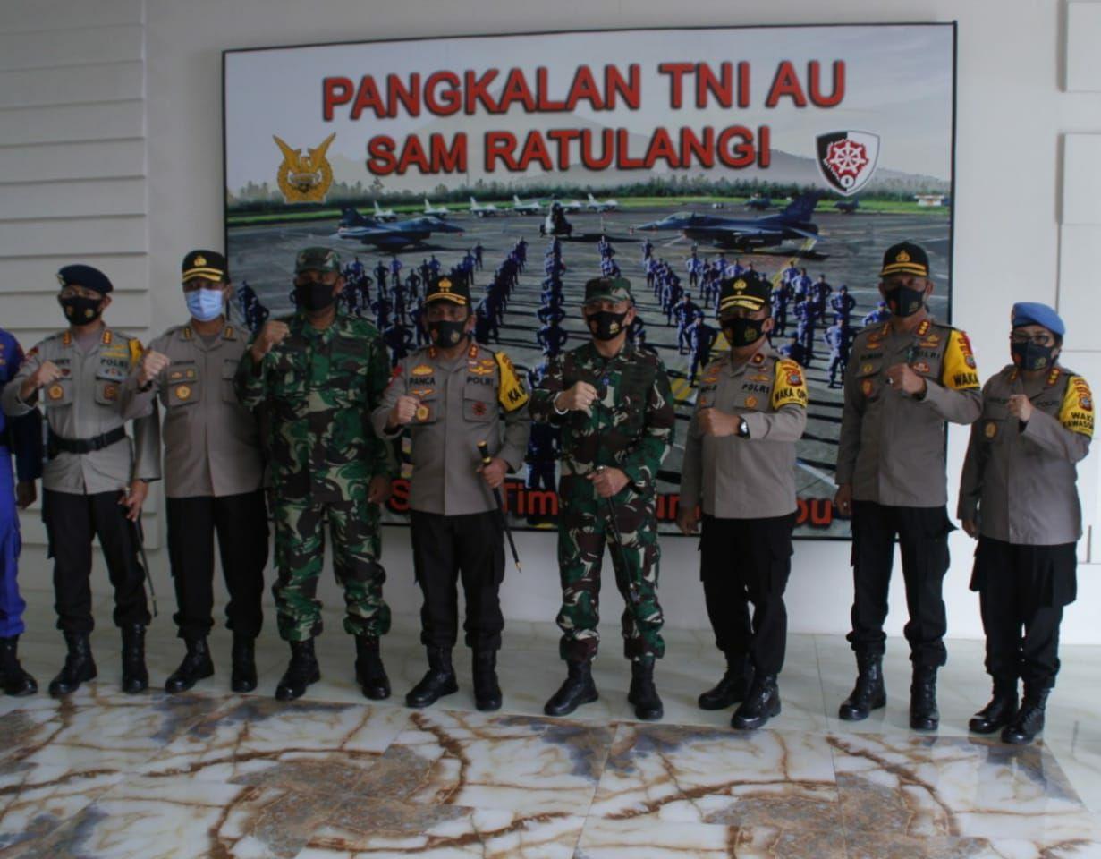 Kapolda dan Wakapolda Sulut Kunjungi Pangkalan TNI AU Ikut Bahas Antisipasi Cluster Pilkada 2020