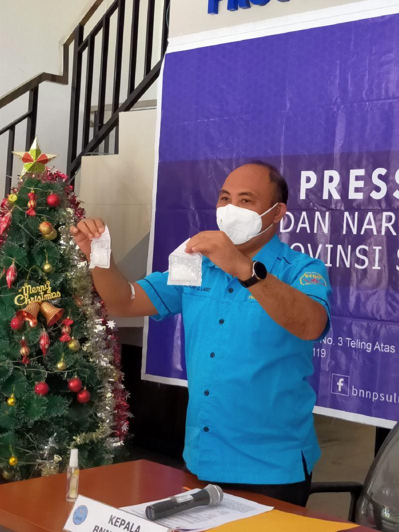 BNNP Sulut Berhasil Amankan 2 Paket Sabu, Tersangka Kakak- Adik