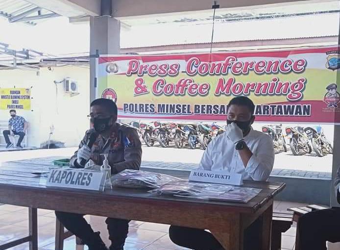 Press Conference Polres Minsel Terkait Kematian Ruddy Tumiwa