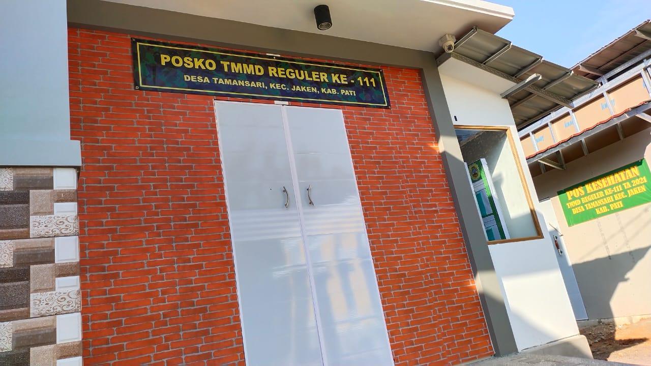 Posko TMMD Reguler ke-111 Kodim Pati Di Desa Tamansari Sudah Berdiri